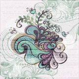 Floral grunge background with waves Royalty Free Stock Image