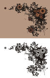 Floral grunge corner. Floral corner with circle and grunge elements. Color and black and white versions available Royalty Free Stock Photo