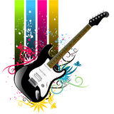 Floral grunge guitar vector. 1 Stock Image