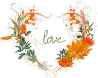Floral Grunge Heart. Royalty Free Stock Photos