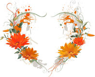 Floral Grunge Heart. Stock Photo