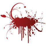 Floral grunge ink splatter design element. Vector illustration of a grungy ink splatter design element with florals Stock Photos