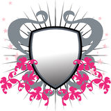 floral grunge shield vector illustration