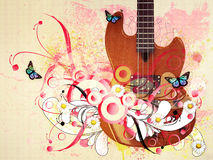 Floral guitar Stock Images