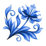 Καλλιτεχνικό floral στοιχείο, αφηρημένη λαϊκή τέχνη gzhel, μπλε λουλούδι Στοκ Εικόνα