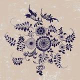 Εκλεκτής ποιότητας σχέδιο, floral στοιχεία στο ύφος gzhel, grunge backgr Στοκ φωτογραφία με δικαίωμα ελεύθερης χρήσης