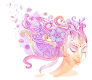 Floral hairstyle, vector illustration Stock Images