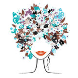Floral hairstyle, woman Stock Photos