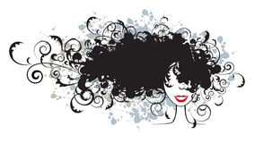 Floral hairstyle, woman face silhouette stock illustration