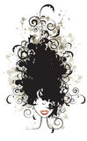 Floral hairstyle, woman face silhouette Stock Photos