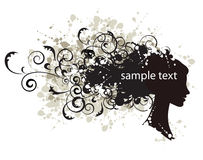 Floral hairstyle, woman face silhouette Royalty Free Stock Photography
