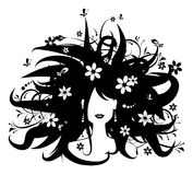 Floral hairstyle, woman silhouette for your design Stock Image