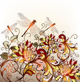 Floral Hand Drawn Background With Ornament In Retro Style Stock Photography