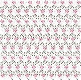 Floral hand drawn backgrounds, pink flowers, black swirls, leafs on white Royalty Free Stock Image