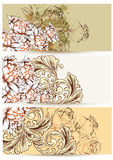 Floral hand drawn backgrounds set Royalty Free Stock Photos