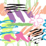 Floral hand drawn brush strokes illustration Royalty Free Stock Images
