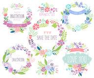 Floral hand drawn card set. Royalty Free Stock Photo