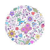 Floral hand drawn colorful pattern Royalty Free Stock Photos