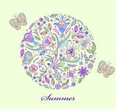 Floral hand drawn colorful pattern Royalty Free Stock Photography