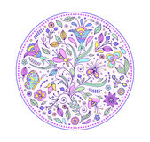 Floral hand drawn colorful pattern Stock Images