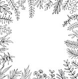 Floral hand drawn farmhouse style outlined twigs branches frame border. Background Stock Photos