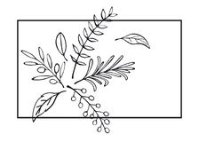 Floral hand drawn farmhouse style outlined twigs card. Background Stock Photos