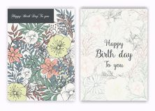Floral hand drawn frame for a birth day invitation stock illustration