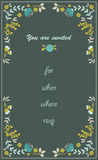 Floral hand drawn invitation Stock Photography