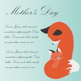 Postcard with chanterelles on Mother`s Day, vector illustration. vector illustration