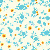 Floral hand drawn seamless background. Cute vector seamless blue and yellow floral background, great as a textile or baby cloth, fabric design for boys or girls Royalty Free Stock Photography