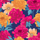 Floral hand drawn seamless pattern with flowers. Royalty Free Stock Images