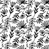 Floral hand drawn seamless pattern. Hand drawn abstract fancy flowers. Folk hand drawn style. Summer ornament. Vintage floral seamless pattern. Hand drawn royalty free illustration