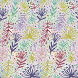 Floral hand drawn seamless pattern. Hand drawn abstract fancy leaves, flowers and grasses. Folk hand drawn style. Summer. Ornament. Colorful background Royalty Free Illustration