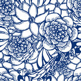 Floral hand drawn seamless pattern in tattoo style. With flowers, vector sketch background Stock Image