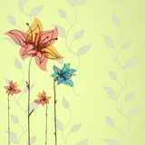 Floral hand-drawn vector background Stock Photos