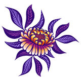 Floral hand drawn vintage flower. Fabulous orange-purple flowers and lilac leaves on a white background. Tropical flower. Exotic textile botanical design Royalty Free Stock Photo