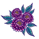 Floral hand drawn vintage flower. Fabulous purple flowers and green leaves on a white background. Tropical flower. Exotic textile botanical design. Summer Royalty Free Stock Image