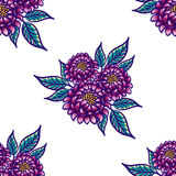 Floral hand drawn vintage seamless pattern with flowers and leaves. Fabulous purple flowers and blue leaves on a white Royalty Free Stock Photo
