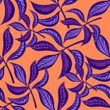 Floral hand drawn vintage seamless pattern with leaves. Fabulous lilac leaves on peachy background. Tropical seamless. Pattern with exotic vivid leaves. Exotic Royalty Free Stock Images