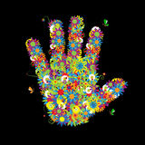 Floral hand shape. Stock Images