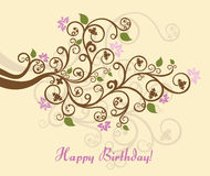 Floral happy birthday card Stock Photography