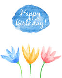 Floral Happy Birthday card. Hand painted watercolor flowers. Change the caption and use this template as wedding or baby shower invitation, graphic design Royalty Free Stock Photography