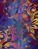 Floral harmony. Floral and leaf design with scroll stems with a rainbow prism infusion of color Stock Photography
