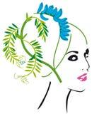 Floral head silhouette Stock Photos