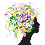 Floral head silhouette Stock Images