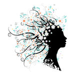 Floral head silhouette Royalty Free Stock Photo