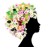 Floral head silhouette Stock Photo
