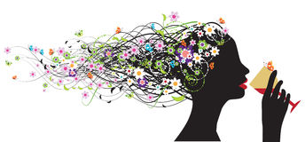 Floral head silhouette, wine Stock Photo