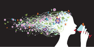 Floral head silhouette, wine Stock Photos