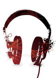 Floral Headphones. Simple headphones silhouette with floral inclusion. Separate elements Stock Photography